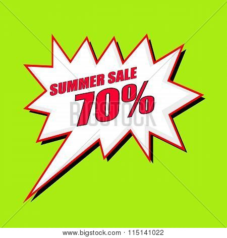 Summer Sale 70 Percent Wording Speech Bubble