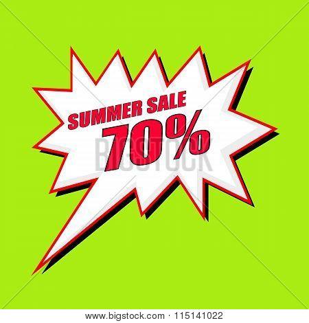 Summer Sale 70 Percent Wording Speech Bubble