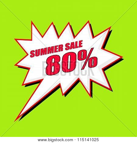 Summer Sale 80 Percent Wording Speech Bubble