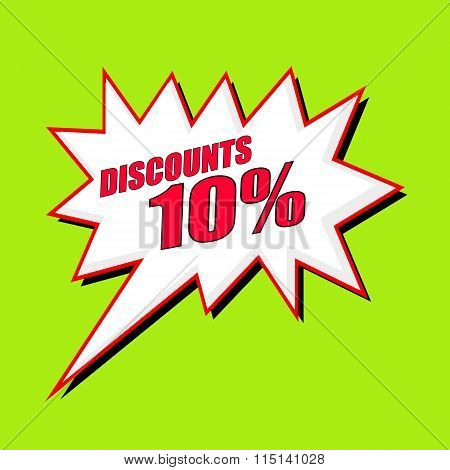 Discounts 10 Percent Wording Speech Bubble