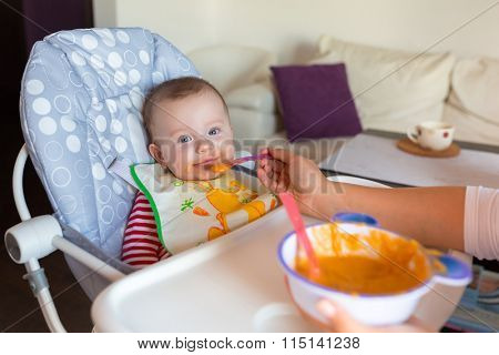 Baby boy eating carrot puree on the high chair