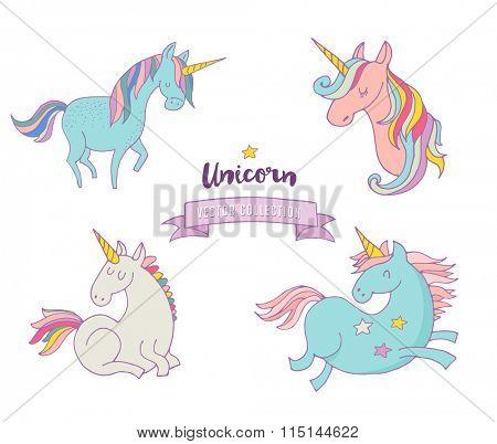 Set of magic unicons - cute hand drawn icons