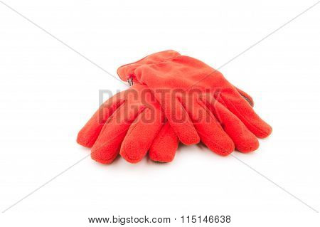 Warm gloves,Red wool gloves isolated on white background