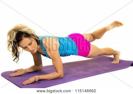 Woman Blue Tank And Pink Shorts Fitness Plank Leg Up