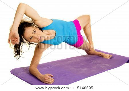 Woman Blue Tank And Pink Shorts Fitness Side Plank Looking