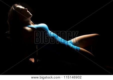 Woman In Blue Lean Back On Hands Highlights