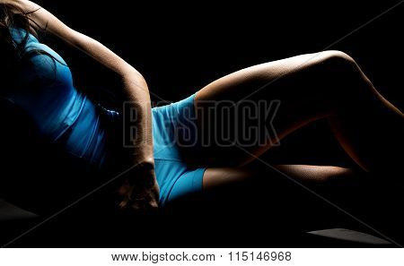 Woman In Blue Shorts And Tank Body Legs Highlighted