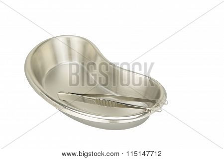 Stainless Steel Forceps In Kidney-shaped Bowl Isolated