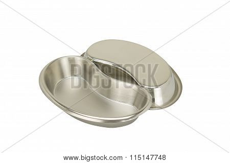 Stainless Steel Kidney-shaped Bowl Placed Supine And Upside Isolated