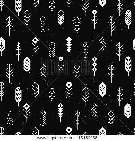 Vector pattern with line feathers and arrows