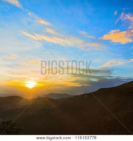 Foggy sunrise at Horton Plains.