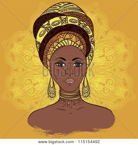 Beautiful African woman in turban over ornate mandala round pattern. Hand drawn vector illustration.