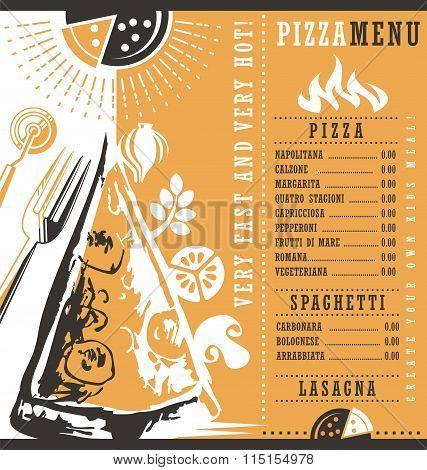 Pizzeria menu graphic design idea