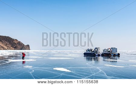 Transportation on ice. all-terrain vehicle. Baikal