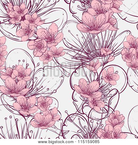Seamless pattern with cherry tree blossom. Vintage hand drawn vector illustration in sketch style.