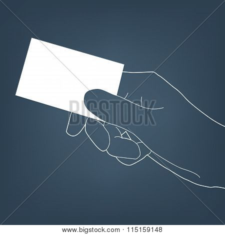 Hand with card silhouette vector