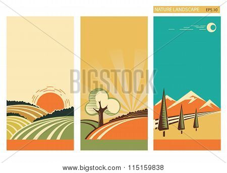 Set Of Banners Nature Landscape.vector Collection