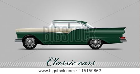 NOVI SAD, SERBIA - JANUARY 11, 2016: Vector illustration of Ford Fairlane 500  1957,   eps10, vector, illustrative editorial - stock vector