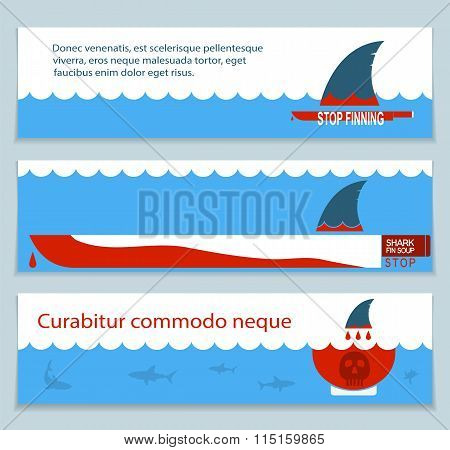 Set Of Banners About Save Sharks And Undersea World