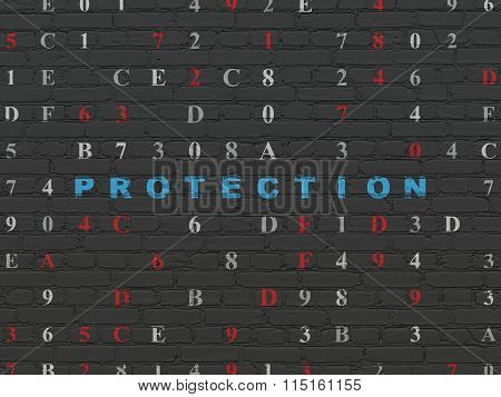 Protection concept: Protection on wall background
