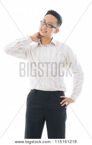 Businessman Who Worries About The Pain Of The Shoulder.