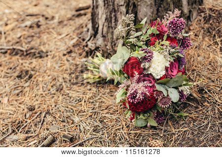 Rustic Wedding Bouquet Of Lilac Rose With Cope Space