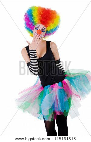 Girl In Clown Wig Isolated On White Background