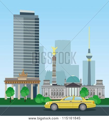 Historical and modern buildings of Berlin.