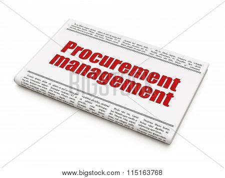 Finance concept: newspaper headline Procurement Management