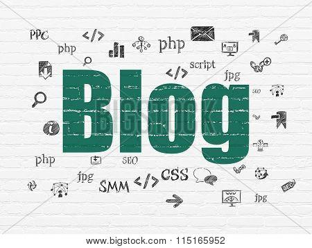 Web development concept: Blog on wall background