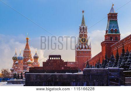 Kremlin wall Spasskaya Tower Mausoleum Red Square sunset winter