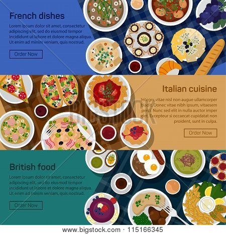 Vector flat illustration banners of british, italian, french national dishes. Egg, bread, croissant,
