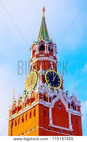 Spasskaya Tower Kremlin Moscow winter sunset