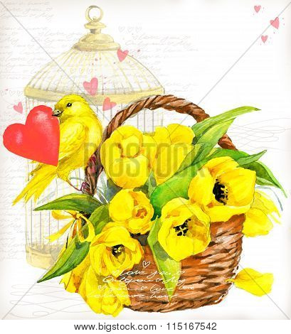 Bird and flower watercolor. Valentine day. Bird with red heart and bird cage. Vintage background for