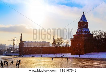 view of stone bridge from  Basil Moscow Kremlin wall