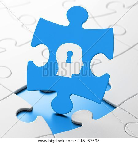 Advertising concept: Head With Keyhole on puzzle background