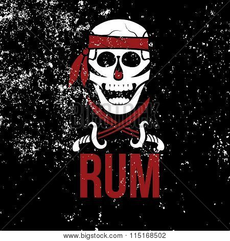 Jolly Roger Rum On Grunge Background