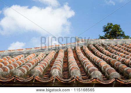 Asian roof clay tiles