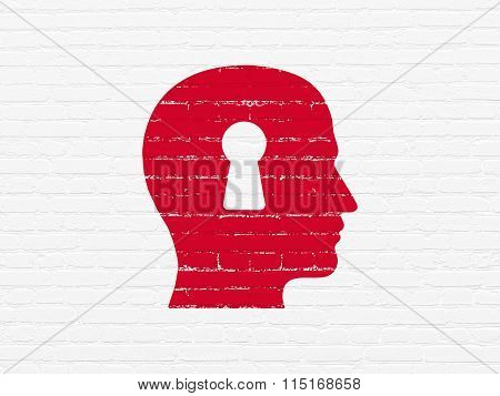 Marketing concept: Head With Keyhole on wall background