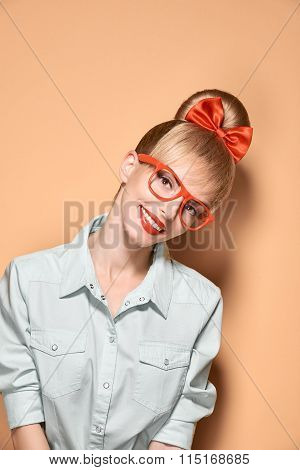 Beauty fashion nerdy woman smiling, glasses.Pinup