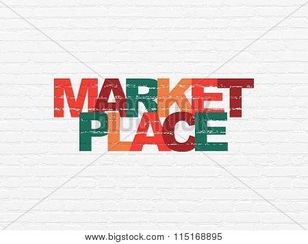 Advertising concept: Marketplace on wall background