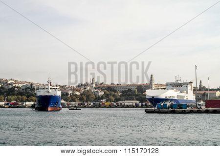 Cargo ships in Istanbul