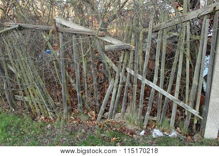 Dilapidated fence