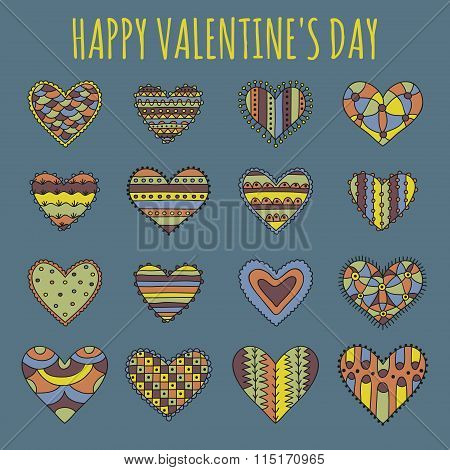Set of sixteen decorative hearts with different colorful desaturated patterns