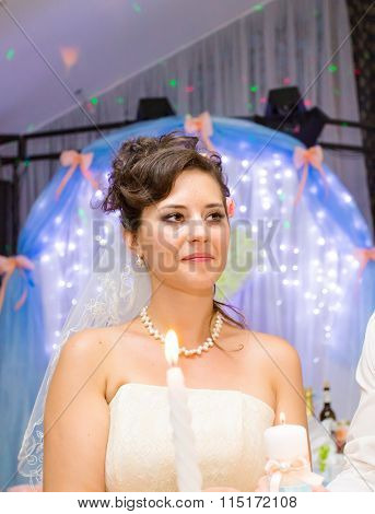 Portrait of beautiful bride at the wedding reception.