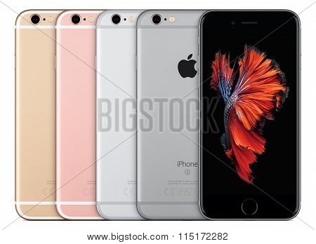 Apple Iphone 6S All Colors Silver Space Gray Gold And Rose Gold Front View