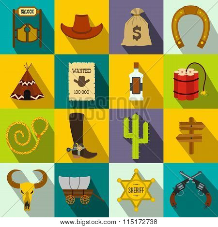 Wild west cowboy icons. Wild west cowboy icons set. Wild west cowboy icons flat. Wild west cowboy icons vector. Wild west cowboy icons illustration. Wild west cowboy icons art