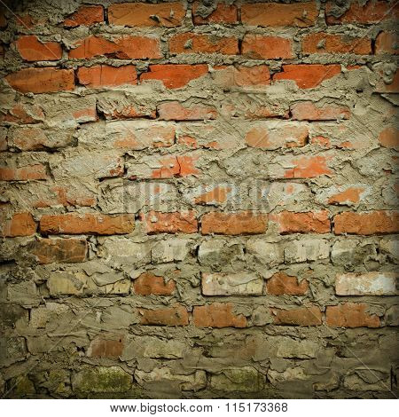 ragged old brick wall background texture