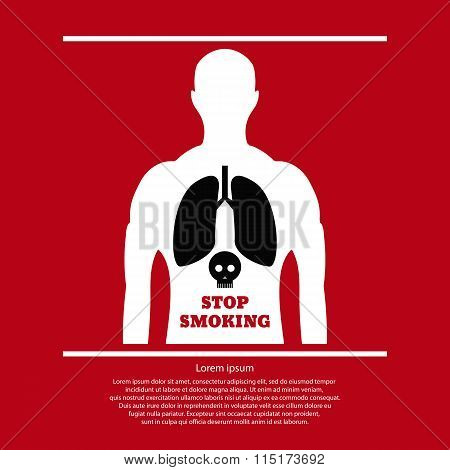 No Smoking Poster. Smoking Man With Skull And Cross Bones. Forbidden Smoker, Habit And Addiction, Ve
