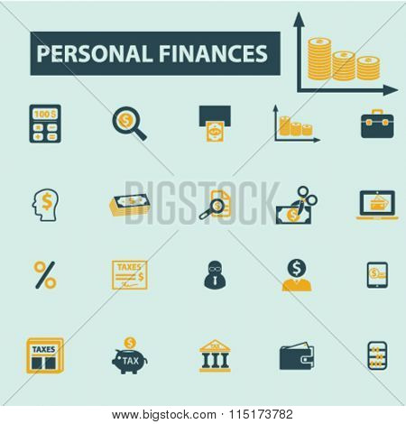 personal finance  icons, signs vector concept set for infographics, mobile, website, application